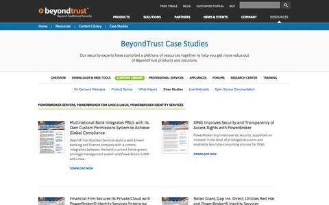 Screenshot of Case Studies Page beyondtrust.com - IT Security Case Studies | BeyondTrust Case Studies - captured Sept. 15, 2014