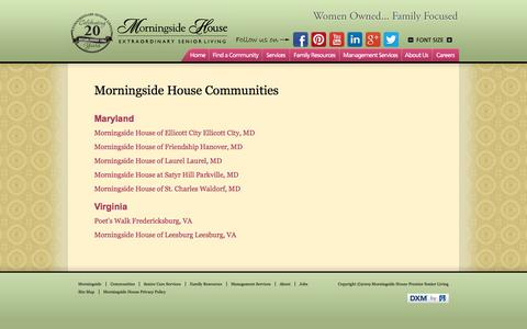Screenshot of Locations Page morningsidehouse.com - Assisted Living Locations - Morningside House - captured Oct. 6, 2014