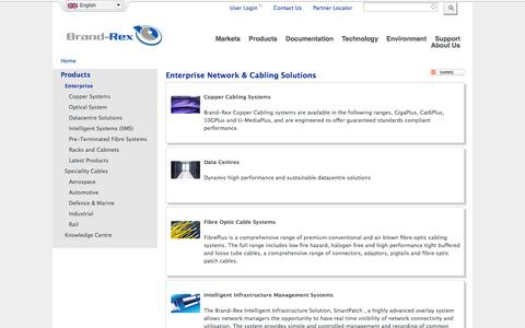 Screenshot of Products Page brand-rex.com - Enterprise Network & Cabling Solutions | Brand-Rex Ltd. - captured Oct. 29, 2014