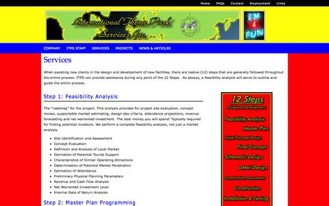 Screenshot of Services Page interthemepark.com - Services - captured Oct. 6, 2014
