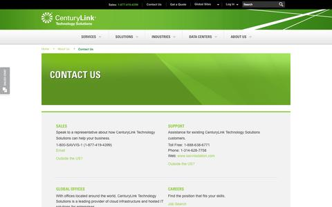 Screenshot of Contact Page centurylinktechnology.com - Contact Us Live 24/7. Phone & Chat - Cloud Hosting Support | CenturyLink Technology Solutions - captured Sept. 16, 2014