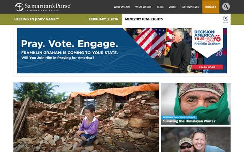 Screenshot of Home Page samaritanspurse.org - Samaritan's Purse — International Relief - captured Feb. 3, 2016