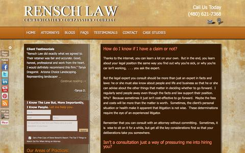 Screenshot of FAQ Page renschlawoffice.com - Legal Questions or Confused About Contract Litigation?Rensch Law Offices - captured Feb. 25, 2016
