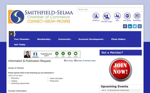 Screenshot of Contact Page smithfieldselma.com - Information & Publication Request - Greater Smithfield-Selma Area Chamber of Commerce, NC - captured Sept. 30, 2018