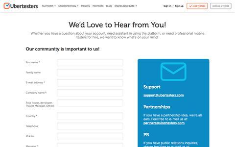 Screenshot of Contact Page ubertesters.com - Contact Us - Ubertesters - captured May 9, 2017