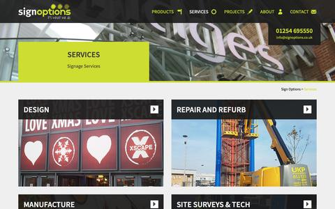 Screenshot of Services Page signoptions.co.uk - Comprehensive Signage and Graphic Services | Sign Options - captured Nov. 15, 2018