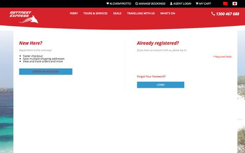 Screenshot of Login Page rottnestexpress.com.au - Customer Login - captured Jan. 25, 2018