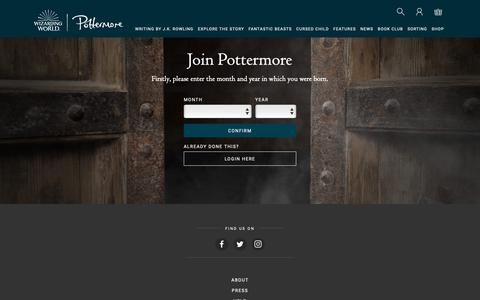 Screenshot of Signup Page pottermore.com - Join - Pottermore - captured Sept. 28, 2018