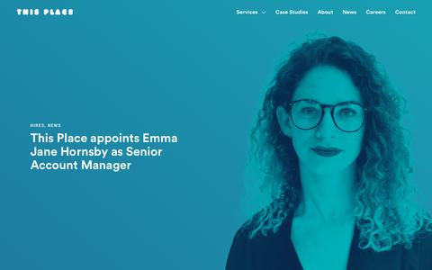 Screenshot of Press Page thisplace.com - This Place appoints Emma Jane Hornsby as Senior Account Manager - This Place - captured Oct. 9, 2018