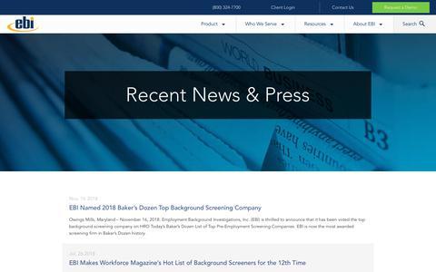 Screenshot of Press Page ebiinc.com - Recent News and Press | EBI - captured Nov. 20, 2018