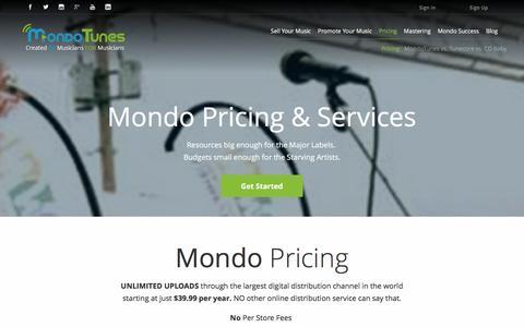 Screenshot of Pricing Page mondotunes.com - Services and Pricing | MondoTunes - captured Jan. 11, 2016