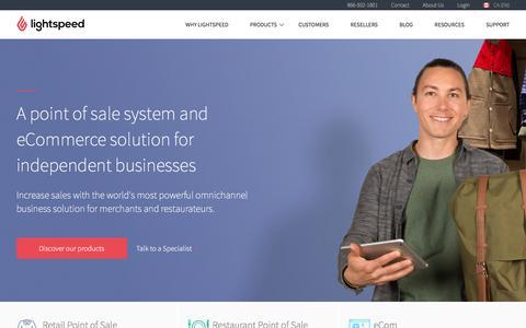Screenshot of Home Page lightspeedhq.com - Lightspeed POS: Point of Sale System for Retail & Restaurant - captured Dec. 4, 2015
