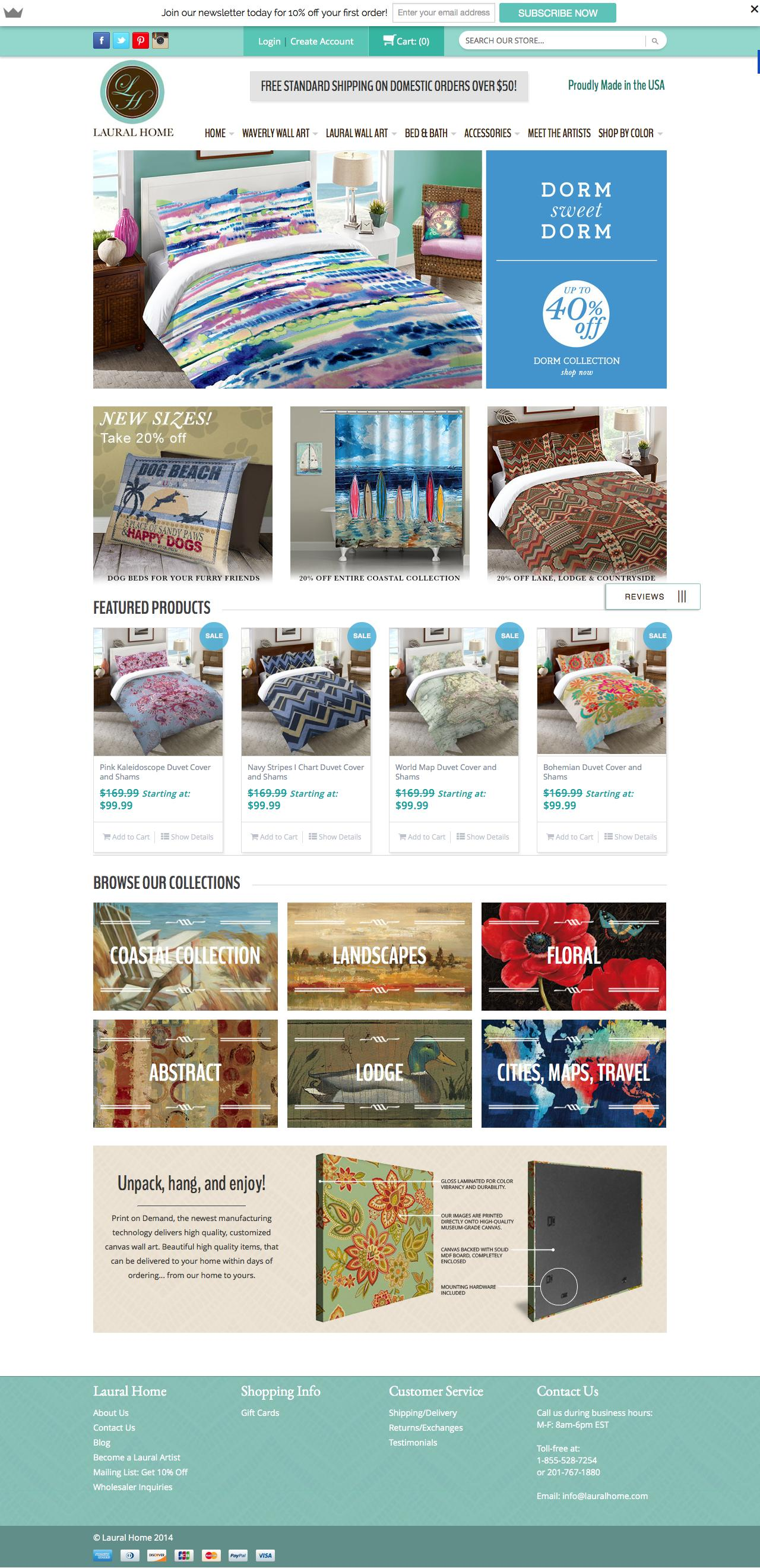 Screenshot of lauralhome.com - Canvas Wall Art and More   Laural Home - captured July 27, 2015