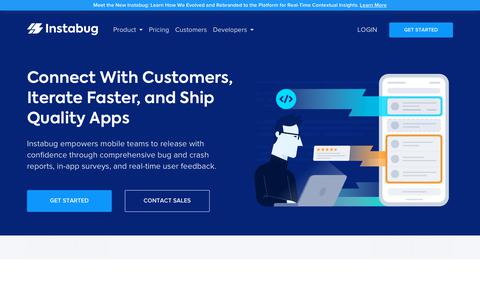 Screenshot of Home Page instabug.com - Connect with Customers and Ship Quality Apps Faster   Instabug - captured Aug. 22, 2019