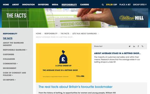 Screenshot of williamhillplc.com - William Hill PLC: About average stake in a betting shop...                 - Lets talk about gambling                 - The Facts                 - Responsibility - captured March 22, 2016