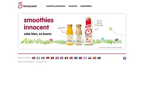 Screenshot of Home Page innocentdrinks.es - innocent – 100% pure fruit smoothies, orange juice, kids smoothies and tasty veg pots - captured Jan. 28, 2015
