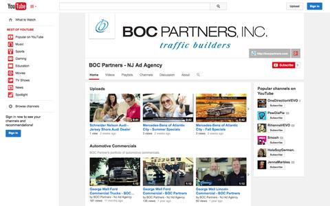 Screenshot of YouTube Page youtube.com - BOC Partners - NJ Ad Agency  - YouTube - captured Oct. 23, 2014