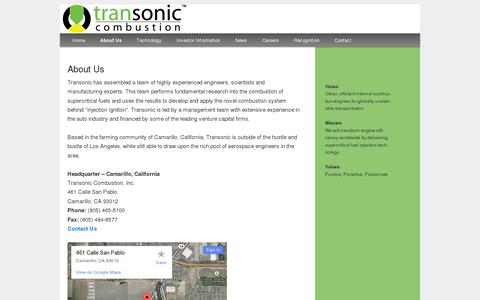 Screenshot of About Page tscombustion.com - About Us   Transonic Combustion - captured July 20, 2014