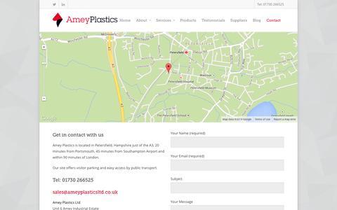 Screenshot of Contact Page ameyplastics.co.uk - Contact - Amey Plastics - captured Sept. 30, 2014