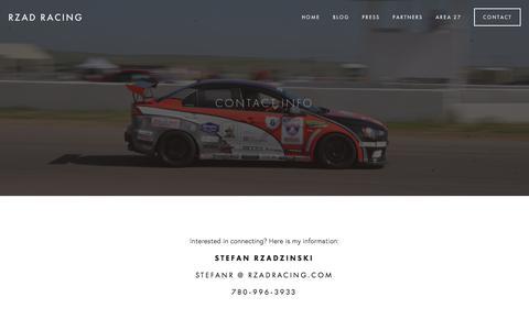 Screenshot of Contact Page rzadracing.com - Contact — RZAD Racing - captured June 15, 2017