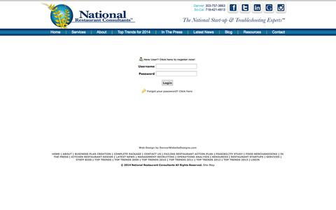 Screenshot of Login Page restaurantconsulting.us - National Restaurant Consultants - login - captured Oct. 27, 2014