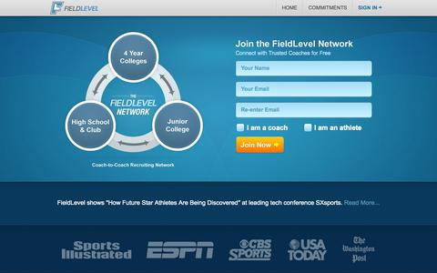 Screenshot of Home Page Signup Page fieldlevel.com - FieldLevel - The Free Coach-to-Coach Recruiting Network - captured Oct. 5, 2014