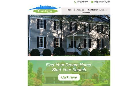 Screenshot of Home Page calistarealty.com - Calista Realty - Home - captured Sept. 26, 2018