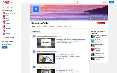 Screenshot of YouTube Page youtube.com - HolidayGuideToKent  - YouTube - captured Oct. 23, 2014