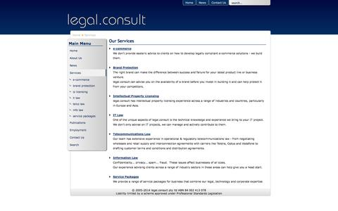 Screenshot of Services Page legalconsult.com.au - legal.consult - legal, technology & communications specialists - Services - captured Oct. 3, 2014