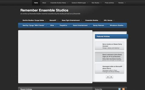 Screenshot of Home Page remember-ensemblestudios.com - Remember Ensemble Studios - captured June 21, 2015