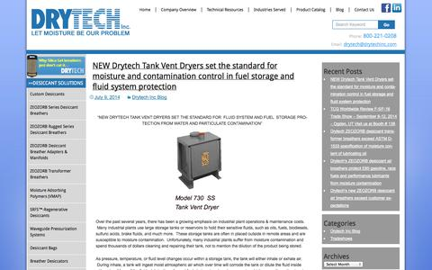 Screenshot of Blog drytechinc.com - Drytech Inc. Blog - captured Oct. 5, 2014