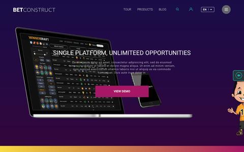 Screenshot of Home Page betconstruct.com - BC-USA - captured Oct. 19, 2016