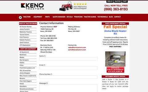 Screenshot of Contact Page kenotractors.com - Contact Keno Tractors | Call Keno Tractors For the Best Deals On Jinma, Mahindra, and Many Others. - captured Sept. 30, 2014