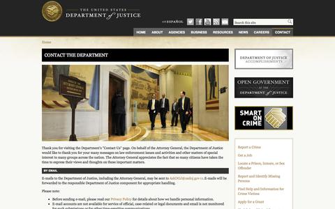 Screenshot of Contact Page justice.gov - Contact the Department | DOJ | Department of Justice - captured Sept. 18, 2014