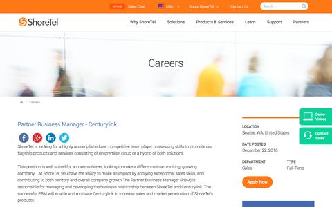 Screenshot of Jobs Page shoretel.com - Careers | ShoreTel: PBX Business Phone Systems & UC Solutions. - captured Jan. 7, 2017