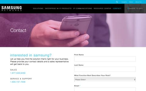 Screenshot of Contact Page samsung-networks.com - Contact   Samsung Networks - captured July 10, 2018