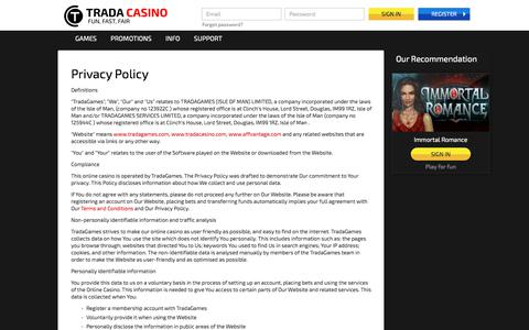 Screenshot of Privacy Page tradacasino.com - Privacy policy - TradaCasino.com - captured June 17, 2017