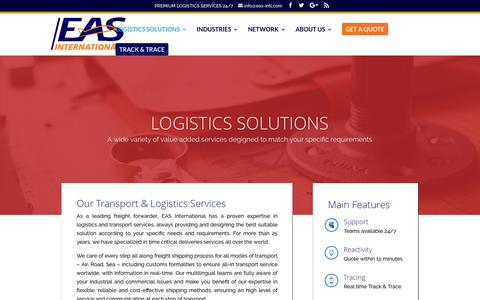 Screenshot of Support Page eas-intl.com - Logistics Solutions   EAS International - captured July 7, 2017