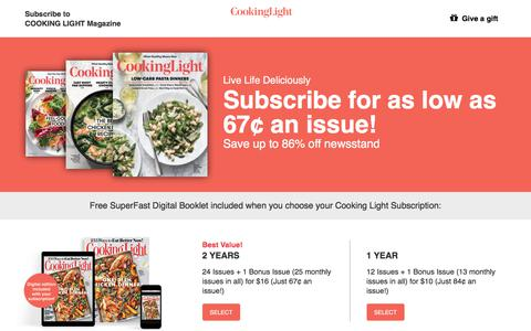 Screenshot of Landing Page cookinglight.com - Cooking Light Subscription Offer - captured March 27, 2018