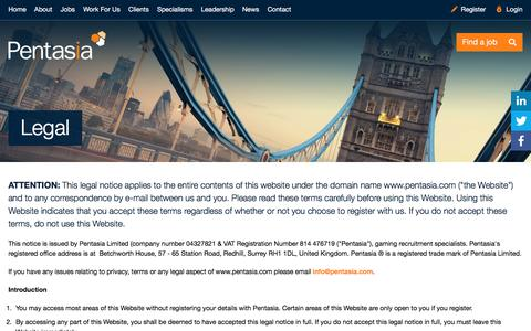 Screenshot of Terms Page pentasia.com - Legal | Pentasia - captured July 12, 2016
