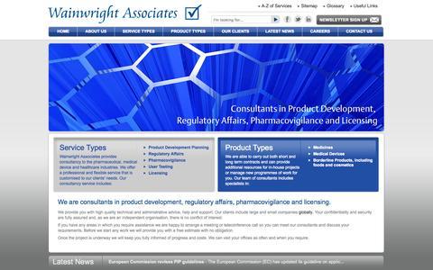 Screenshot of Home Page wainwrightassociates.co.uk - Consultants in product development, regulatory affairs, pharmacovigilance and licensing - captured Oct. 6, 2014