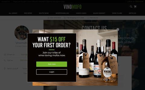 Screenshot of Contact Page vinomofo.com - Contact Our Team | Vinomofo Australia - captured Feb. 21, 2019