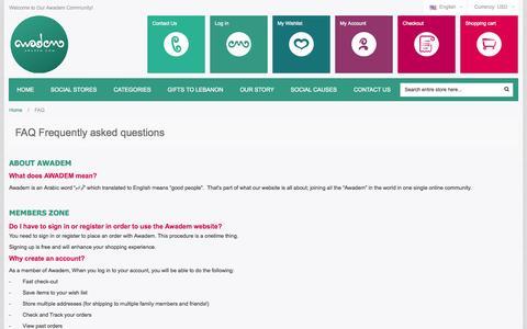 Screenshot of FAQ Page awadem.com - FAQ - captured Oct. 29, 2014