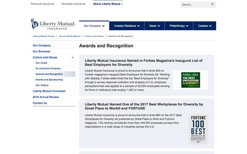 Awards and Recognition at LibertyMutualGroup.com