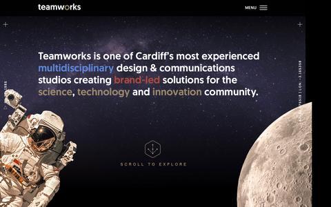 Screenshot of Home Page teamworksdesign.com - Teamworks | Multidisciplinary design & communications studio | Cardiff - captured Nov. 29, 2016