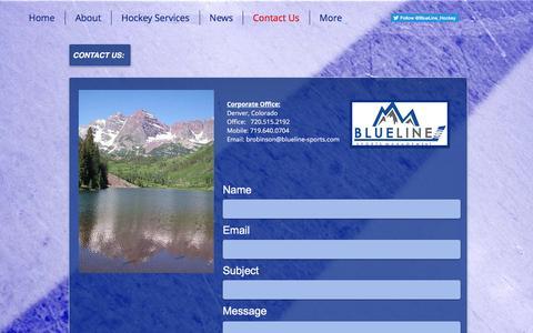 Screenshot of Contact Page blueline-sports.com - Blue Line Sports Management, LLC - Hockey Agency & Family Advisors | Contact Us - captured Nov. 22, 2016