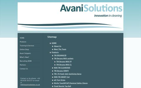 Screenshot of Site Map Page avanisolutions.co.uk - Purple beer line cleaner, colour change technology, verified hygiene - captured Dec. 23, 2015