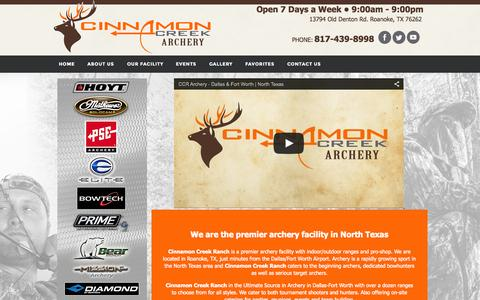 Screenshot of Home Page cinnamoncreekranch.com - Cinnamon Creek Ranch Ultimate Archery | Dallas | Fort Worth | Birthday Parties | Catering - captured Sept. 4, 2015