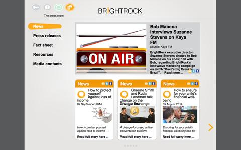 Screenshot of Press Page brightrock.co.za - Get The Latest Insurance News | Our News Room | BrightRock Insurance - captured Oct. 5, 2014