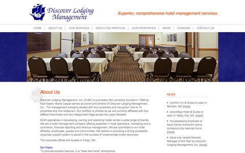 Screenshot of About Page discoverlodging.net - Discover Lodging Management | About Us - captured Oct. 5, 2014